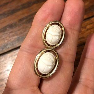 Vintage white scarab beetle clip on earrings